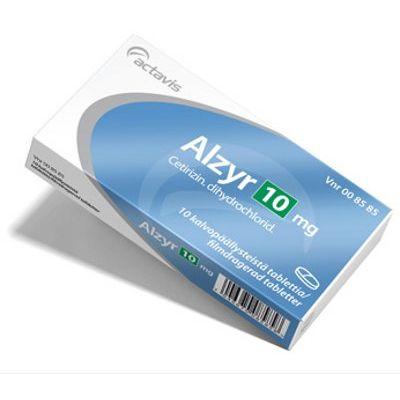 ALZYR 10 mg tabl, kalvopääll 10 fol