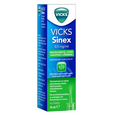 VICKS SINEX 0,5 mg/ml nenäsumute, liuos 15 ml