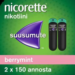 NICORETTE BERRYMINT 1 mg/annos sumute suuonteloon, liuos 2x150 annosta